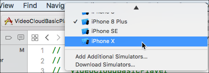 Select device or simulator version